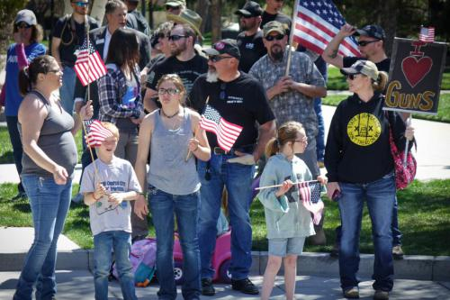 Nicole Gilbert far left with her family at Saturday's Second Amendment rally